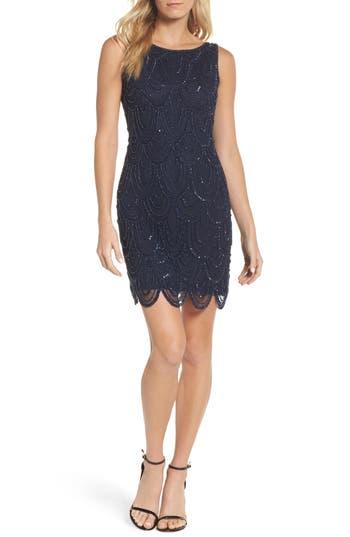1920s Downton Abbey Dresses Womens Pisarro Nights Embellished Mesh Sheath Dress Size 8 - Blue $148.00 AT vintagedancer.com
