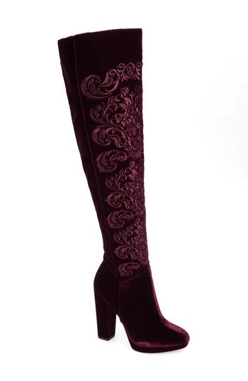 Jessica Simpson Grizella Embroidered Over The Knee Boot, Burgundy
