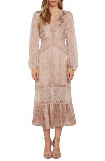 1900 Edwardian Dresses, Tea Party Dresses, White Lace Dresses Womens Willow  Clay Lace Midi Dress Size 12 - Pink $149.00 AT vintagedancer.com