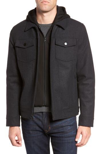 Men's Black Rivet Hooded Wool Blend Trucker Jacket