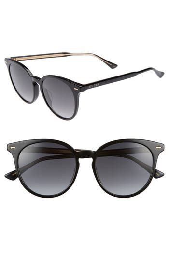 Gucci 55Mm Round Cat Eye Sunglasses - Black