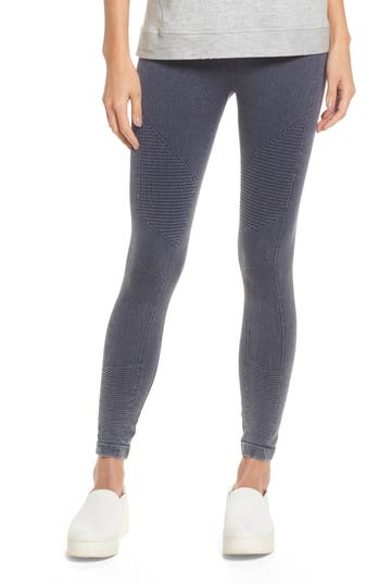 Yummie Washed Moto Seamless Skimmer Leggings, Blue