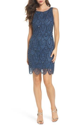 Pisarro Nights Embellished Mesh Sheath Dress, Blue