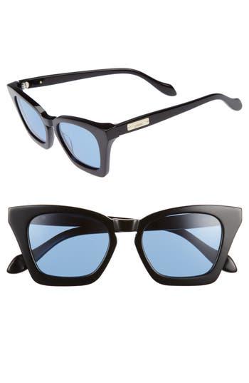 Sonix GINZA 50MM CAT EYE SUNGLASSES - BLACK/ BLUE TINT LENS