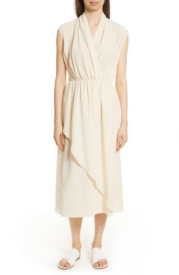 Vince  DRAPED SILK CROSS FRONT DRESS