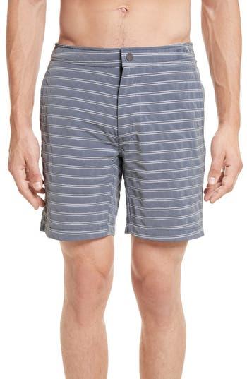Onia Calder Stripe Board Shorts, Grey