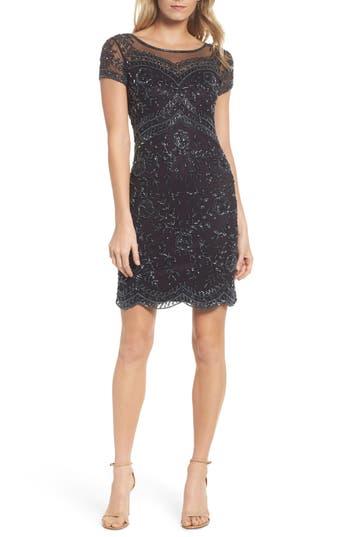 1920s Style Dresses, Flapper Dresses Pisarro Nights Beaded Illusion Mesh Sheath Dress $198.00 AT vintagedancer.com