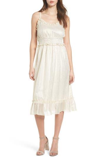 1920s Day Dresses, Tea Dresses, Mature Dresses with Sleeves Womens Moon River Foil Print Ruffle Trim Dress $84.00 AT vintagedancer.com