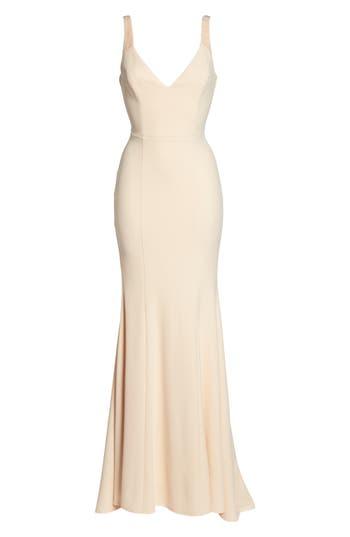 Vintage Inspired Wedding Dresses Womens Lulus Embellished Strap Trumpet Gown Size X-Small - Pink $119.00 AT vintagedancer.com