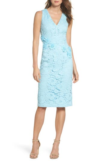 Vintage Evening Dresses and Formal Evening Gowns Womens Maggy London Floral Lace Midi Dress Size 16 - Blue $178.00 AT vintagedancer.com
