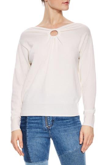 Sandro Keyhole Wool & Cashmere Sweater, White