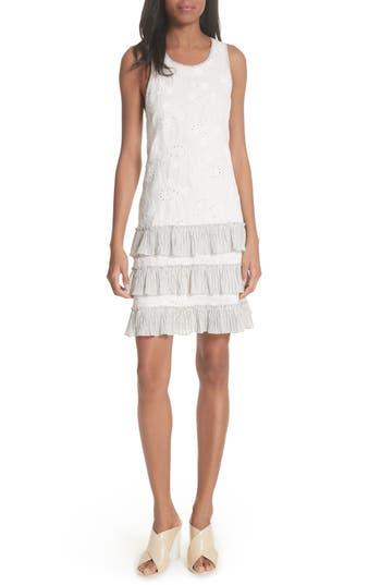 Rebecca Taylor Garden Eyelet Linen Shift Dress, White