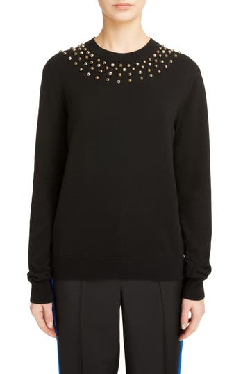 Givenchy Studded Wool & Cashmere Sweater, Black