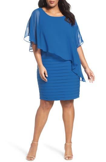 Plus Size Adrianna Papell Chiffon Overlay Shutter Pleat Sheath Dress, Blue