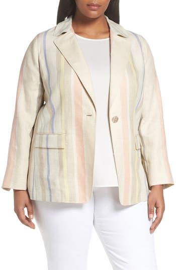 Plus Size Lafayette 148 New York Marie Stripe Linen Jacket