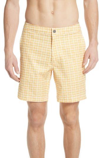 Onia Calder Square Print Swim Trunks, Yellow