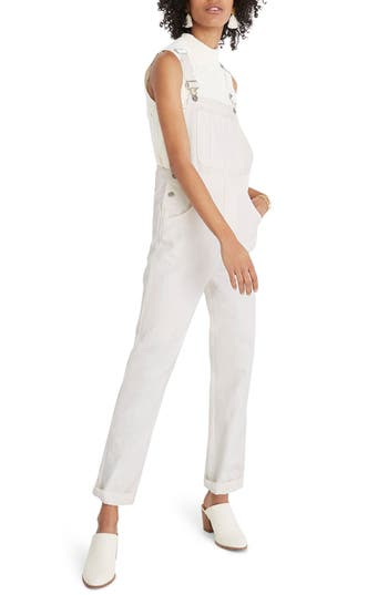MADEWELL 10-Inch Button High Waist Crop Skinny Jeans in White