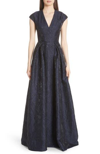 Carmen Marc Valvo Couture Metallic Floral Jacquard Ballgown, Blue