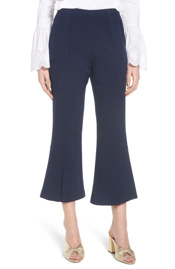 Lost Ink High Waist Crop Flare Pants, Blue