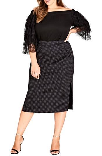 Plus Size City Chic Spotty Dotty Pencil Skirt, Black