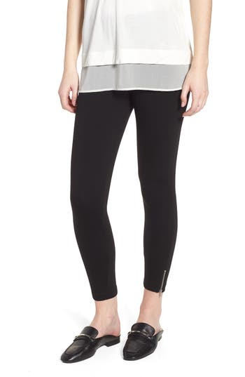 Lysse Mini Zip Crop Leggings, Black