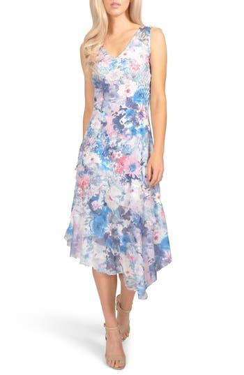 Komarov Floral Chiffon & Charmeuse Dress, Blue