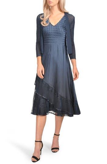 Komarov Lace Trim Tiered Dress With Jacket