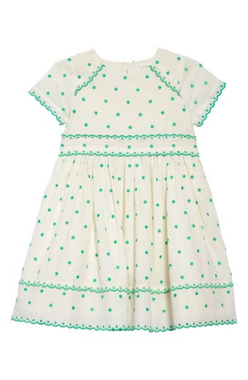 1940s Children's Clothing: Girls, Boys, Baby, Toddler Toddler Girls Mini Boden Embroidered Dot Scalloped Dress Size 3-4Y - Ivory $44.98 AT vintagedancer.com