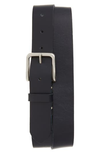 Big & Tall 1901 Moro Bar Tack Leather Belt, Navy Peacoat