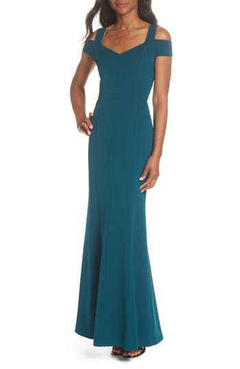 Eliza J Cold Shoulder Scuba Crepe Trumpet Gown, Green