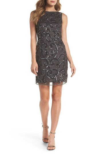 Pisarro Nights Embellished Sheath Dress, Grey