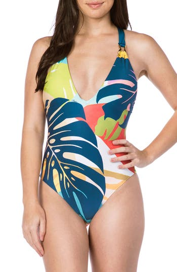 Trina Turk Banana Leaf One-Piece Swimsuit, White