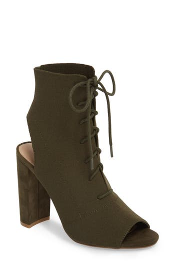 Steve Madden Capture Lace-Up Sock Bootie- Green