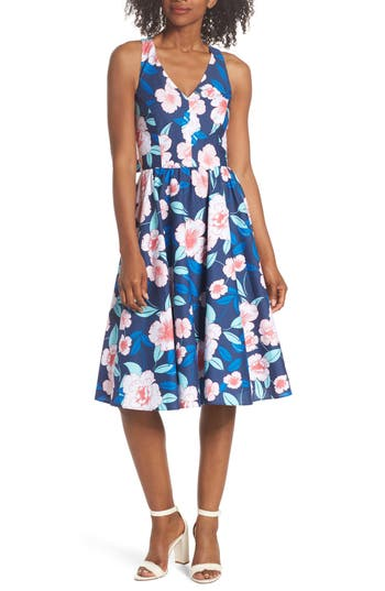 Eliza J Floral Fit & Flare Halter Dress, Blue
