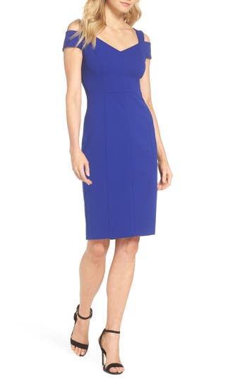 Eliza J Cold Shoulder Sheath Dress, Blue