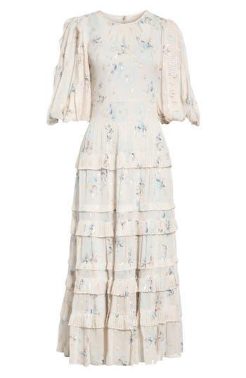 Rebecca Taylor Metallic Faded Floral Midi Dress, Ivory
