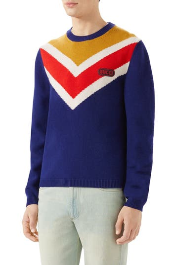 Gucci Intarsia V-Stripe Wool Sweater, Blue