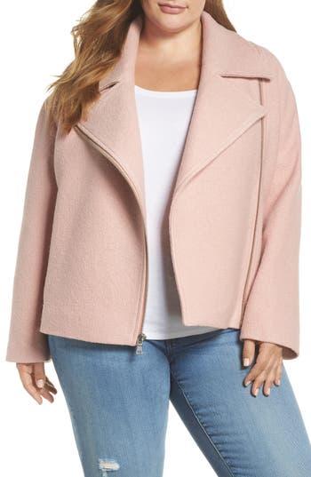 Plus Size Halogen Boiled Wool Moto Jacket, Pink