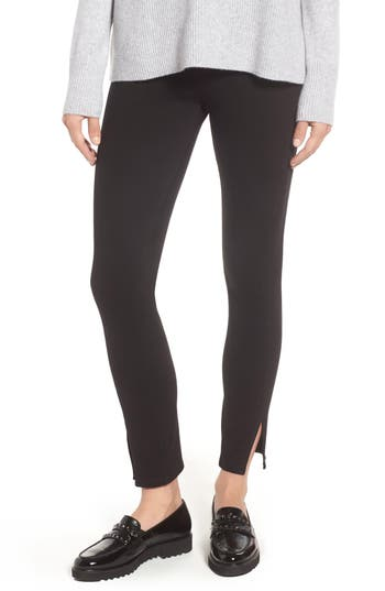 Lysse Split Hem Crop Denim Leggings, Black