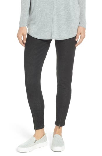 Nordstrom Ankle Zip Denim Leggings, Black