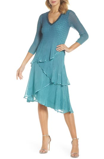 Komarov Bead Trim Tiered Chiffon Dress