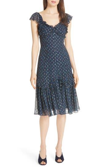 Rebecca Taylor Speckled Dot Silk Fit & Flare Dress, Blue