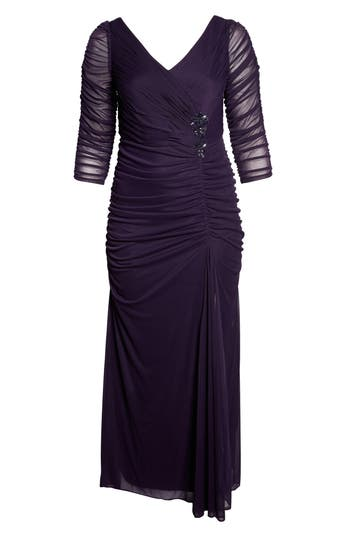 1940s Plus Size Dresses | Swing Dress, Tea Dress Plus Size Womens Adrianna Papell Beaded Mesh Gown Size 20W - Burgundy $180.00 AT vintagedancer.com
