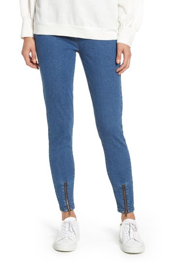 Nordstrom Ankle Zip Denim Leggings, Blue