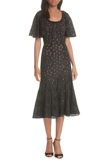 Rebecca Taylor Sarah Silk Eyelet Midi Dress, Black