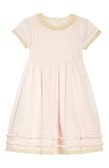 1930s Childrens Fashion: Girls, Boys, Toddler, Baby Costumes Toddler Girls Mini Boden Lace Trim Fit  Flare Dress Size 3-4Y - Pink $44.98 AT vintagedancer.com