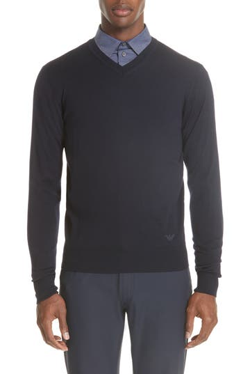 Emporio Armani V-Neck Wool Sweater, US / 4 R - Blue