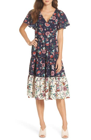 Eliza J Flutter Sleeve Tiered Fit & Flare Dress, Blue