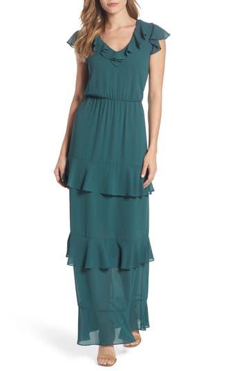 Charles Henry Tiered Ruffle Maxi Dress