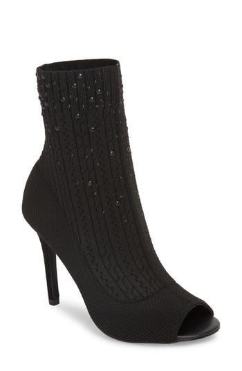 Charles By Charles David Peep Toe Sock Bootie, Black